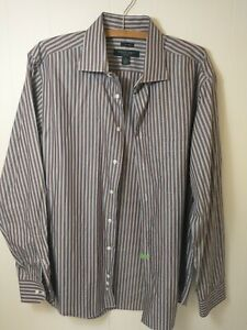 Pronto Uomo Mens White Brown Striped Long Sleeve Casual Button Up Shirt Size L