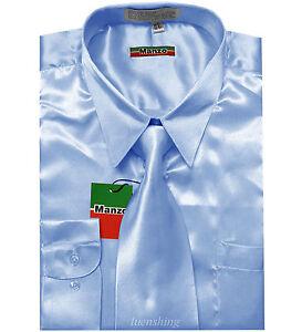 Nuovo da Uomo Satin Camicia & in Abbinato Cravatta Manica Lunga Festa Ballo