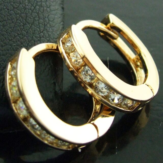 FS571 GENUINE 18K YELLOW G/F GOLD SOLID DIAMOND SIMULATED HUGGIE HOOP EARRINGS