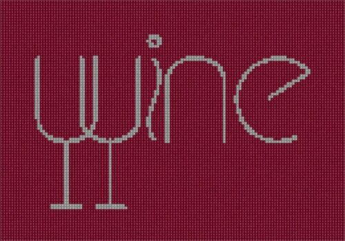 Wine Spelled 2 Needlepoint Kit or Canvas