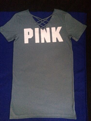 Victoria/'s Secret PINK Xs Campus Skater Dress Strappy Tee T-Shirt Lace Up Xsmall
