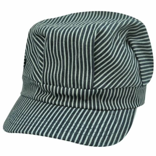 Fitted Cabby Cabbie Newsboy Driver Conductor Hat Cap Stripes Black Gray Large