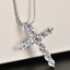 925-Solid-Sterling-Silver-Cross-Cubic-Zirconia-CZ-Pendant-Necklace-Jewellery-Uk thumbnail 2