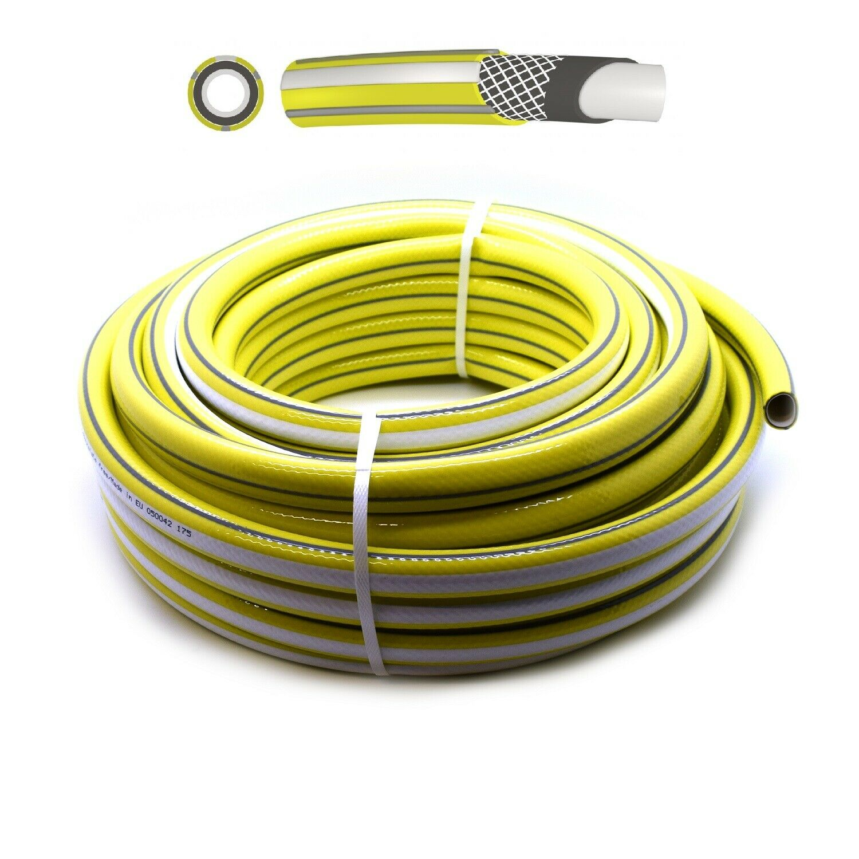 1/2 - 4 Layer Premium Garden Hose Pipe Reel Reinforced Outdoor Hosepipe Yellow