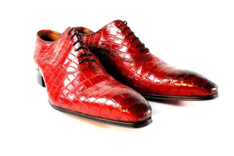 Ivan Troy Rot Krokodil Re Handgefertigt Herren Italienisches Leder