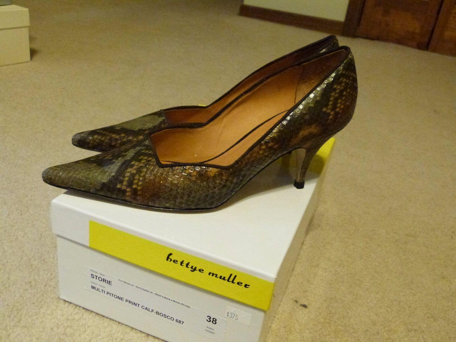 Bettye Muller kitten heels, python print, very pretty    size 38 ecfbef
