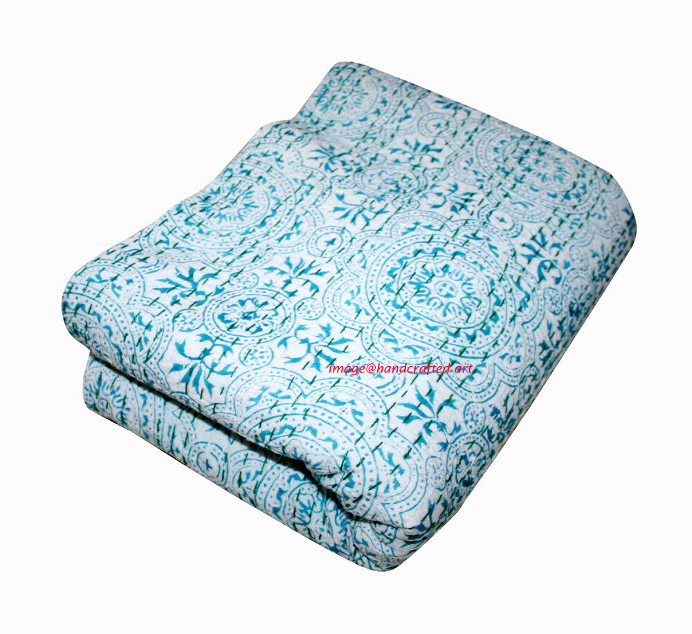 Vintage Indian Hand Printed Handmade Kantha Quilt Bedspread- Queen Throw Decor