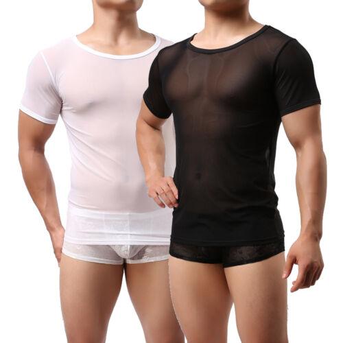 Men/'s Mesh T-shirt Sheer Tops Transparent Undershirt Breathable Fetish Blouse
