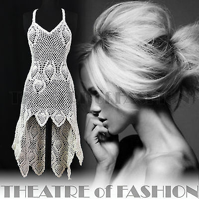 VINTAGE 70s CROCHET DRESS UK 10 12 14 16 LACE 60s BOHO WEDDING WHITE SUPERMODEL