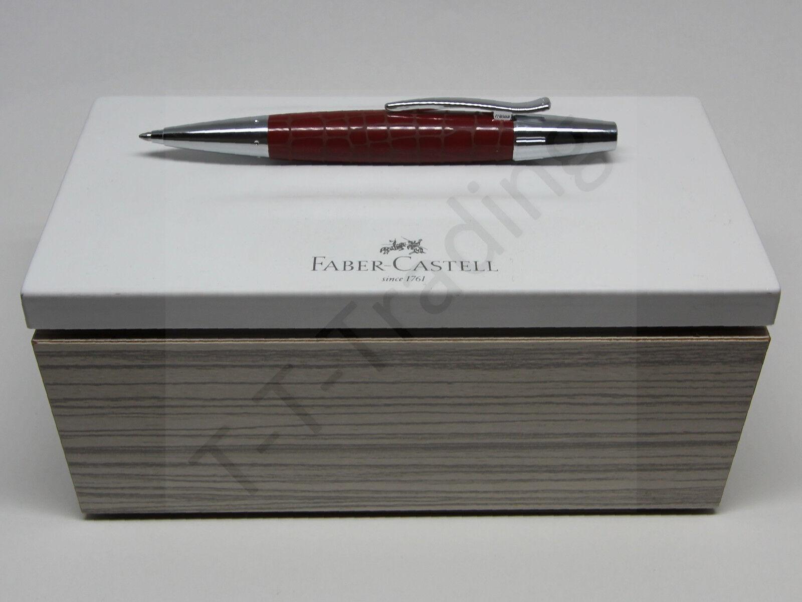 Faber-Castell Drehkugelschreiber E-MOTION Kroko Hibiskusrot inkl Geschenkverp.
