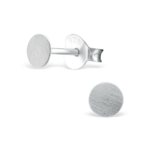 925 Sterling Silver Round Textured Disc Circle Dot Stud Girls Women Earrings