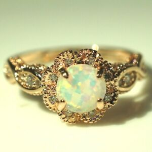 Sparkling-Round-Blue-Opal-Ring-Women-Wedding-Jewelry-14K-Gold-Plated-Nickel-Free