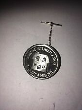 A Home Without a Dog  E75 Tie Pin With Chain Made From English Pewter