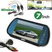 "Wireless Car Rear View System+HD 7"" Monitor Mirror+IR LEDs Reverse Backup Camera"