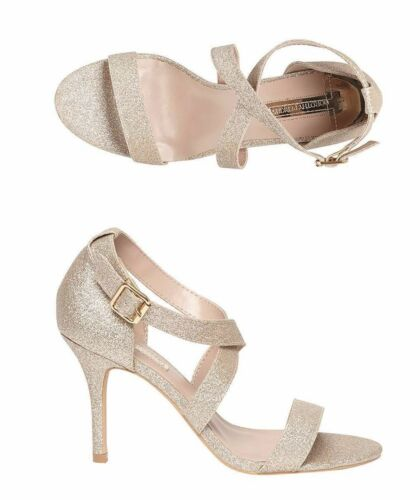 Dorothy Perkins Womens UK 6 /& 7 Gold Sandrine High Heel Stiletto Sandals Shoes