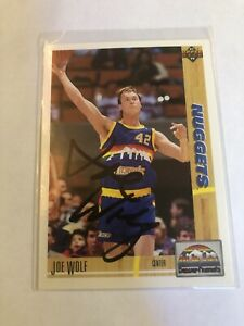 1991 Upper Deck Joe Wolf Signed Auto Card #297 Nuggets