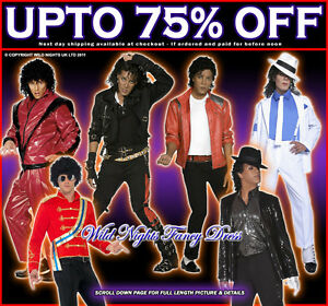 OFFICIAL-MENS-MICHAEL-JACKSON-80s-FANCY-DRESS-COSTUMES-1980-039-s-1970-039-s-KING-OF-POP