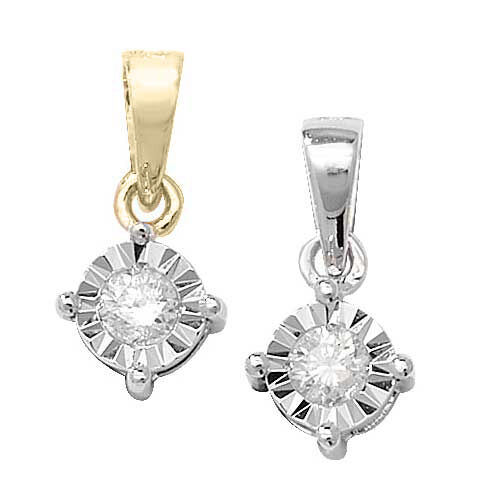 9ct Yellow or White gold Diamond Pendant (0.10ct or 10 points)
