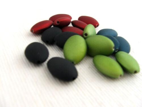colour choice 30 x Rubberized Satin Acrylic Flat Oval Beads 20x13mm