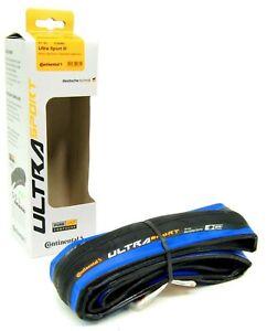 Continental Ultra Sport III 700 x 25 Black/Blue Folding PureGrip Road Bike Tire