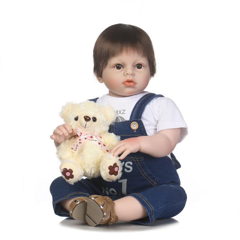 Bebé Reborn de silicona muñecas reborn toddler Niño Bebés 28  juguete de muñecas con Muñeco De Oso