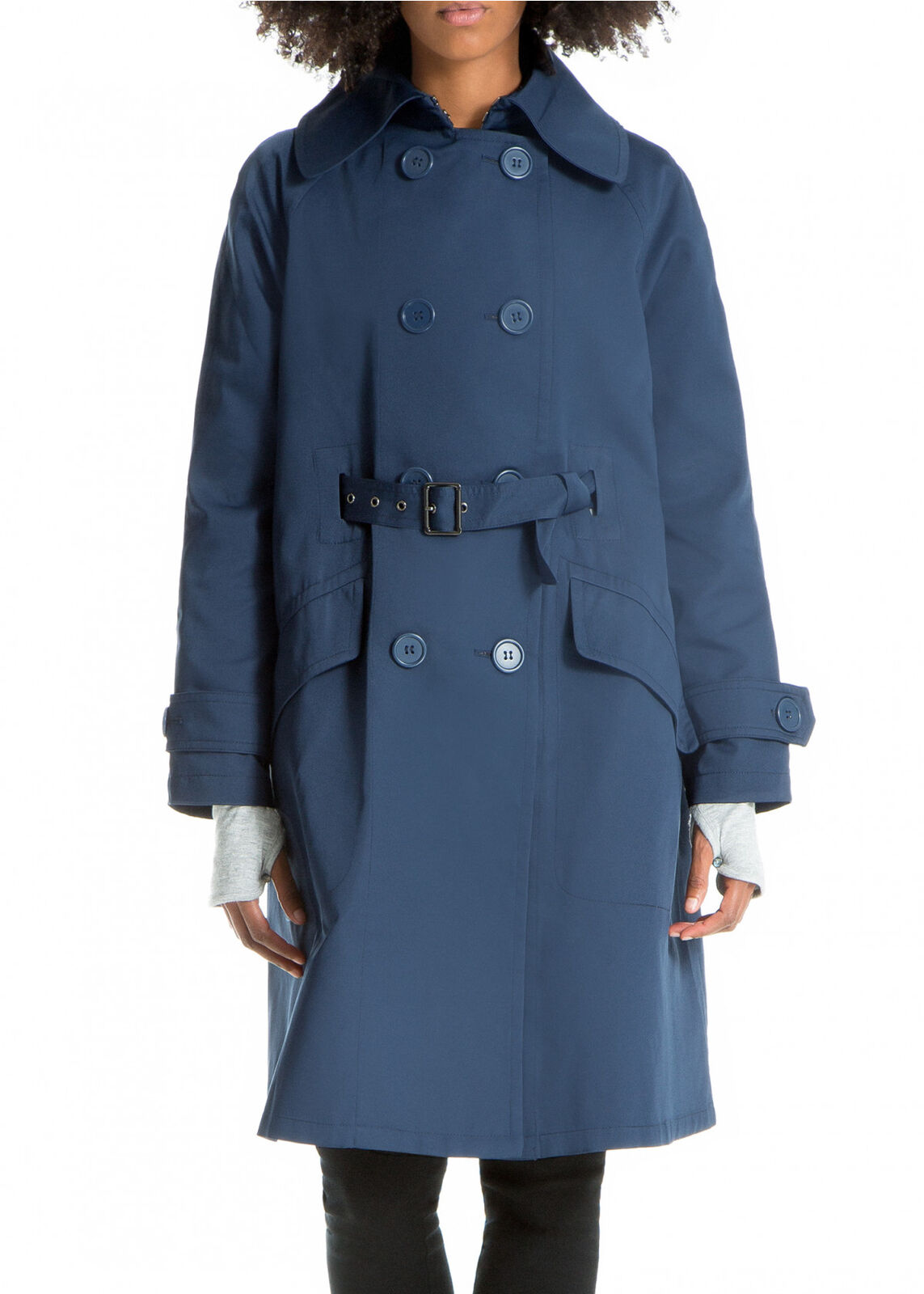 Max Studio Women's bluee Front-Belted Trench Coat, Size M NWOT
