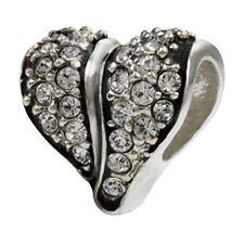 SilveRado Swarovski Cystal White Heart Pan dora European Charm Bead
