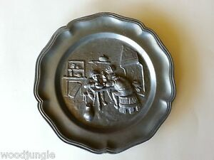 RARE Vintage FRANCE PEWTER WALL PLATE PUB PUBLIC HOUSE MODELE DEPOSE