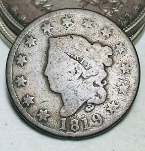 1819 Large Cent Coronet Head 1C Ungraded Good Date Early US Copper Coin CC6771