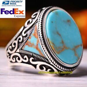 Handmade Vintage Spider-web Natural  Turquoise Silver 925 Men Ring Men Ring Turquoise Ring Silver Ring Size 11 34
