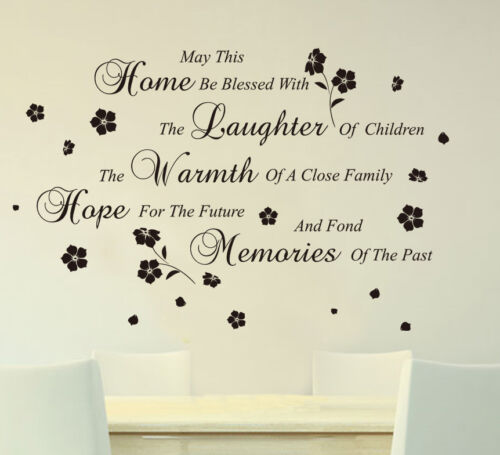 Home Blessed /& Flowers Wall Art Quotes Vinyl Sticker DIY Wall Decal HIGH QUALITY