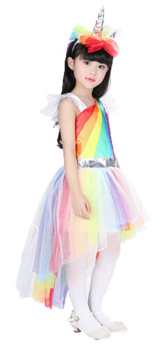 Girl Unicorn Fancy Dress Costume Little Pony Dress Up Book Day Halloween Outfit