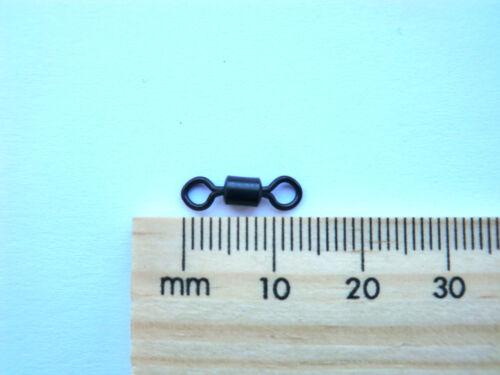 100 size 8 black nickel rolling swivel carp sea fishing spinning pike