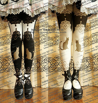 Japanese Lolita Cat Printing Retro Tights Socks Stocking Thin Pantyhose 2 Colors
