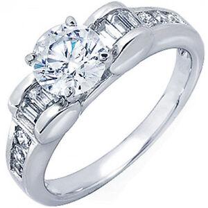 2Ctw-Redondo-amp-Corte-Baguette-Certificado-de-GIA-Anillo-de-Compromiso-Diamante
