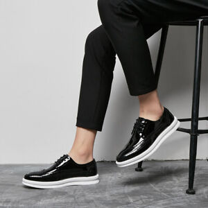 Men-039-s-Carved-Brogues-Wingtip-Lace-Up-Creepers-Patent-Leather-British-Style-Shoes