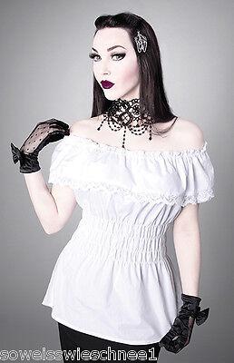 Restyle Bluse Rüschen Ruffles Shirt Victorian Gothic Lolita Steampunk R26 Weiß