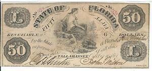 $50 Florida Tallahassee 1861 Bank Note Rare Inversée Fifty Cr3a #1544 Faire Sentir à La Facilité Et éNergique