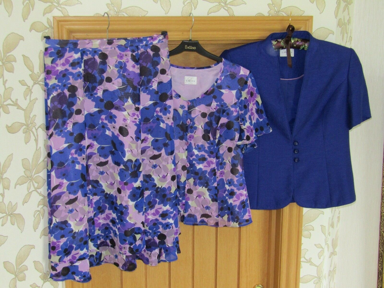 Eastex blue/purple pink floral blouse skirt jacket suit uk 10 wedding cruise exc