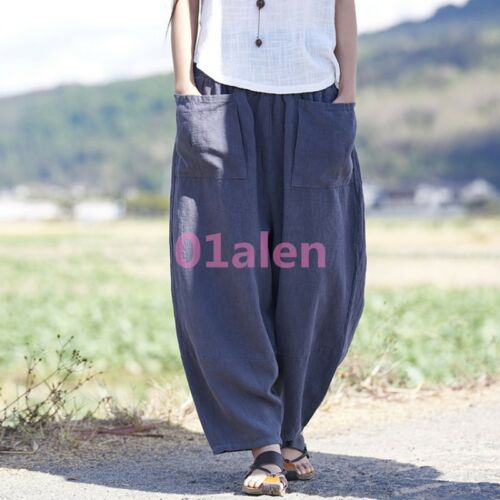 Womens Harem Pants Bloomers Baggy Linen Cotton Summer Pockets Loose Trousers