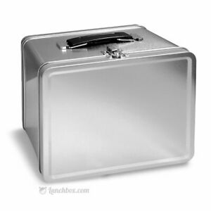 Retro Plain Metal Lunch Box - Blank Plain Silver Pail Lunchbox Lunchpail