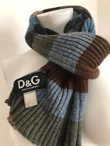 100-Original-Dolce-amp-Gabbana-Schal-Streifen-Top-Farben-Blau-Grau-Khaki-D-amp-G-UNISEX