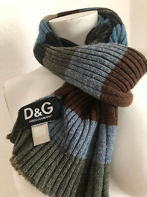 100% Originale Dolce & Gabbana Sciarpa Strisce Top Colori Blu Grigio Cachi D&g Unisex-mostra Il Titolo Originale