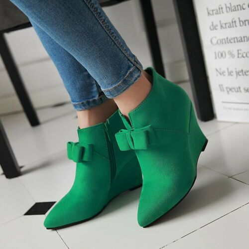 Sweet Womens Pointed Toe Faux Suede Zip Ankle Boots Wedge High Heels Shoes Size