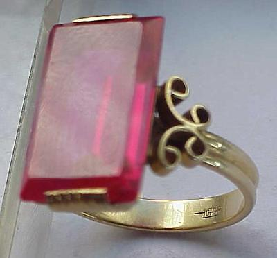 "1950 year. RUSSIAN 750"" YELLOW GOLD RECTANGULAR JEWELRY 6ct RUBY RING SIZE 5.1/2"