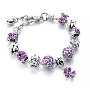 Silber-Flieder-Bettelarmband-Charmarmband-11-Charms-Geschenk-Pandora-Art