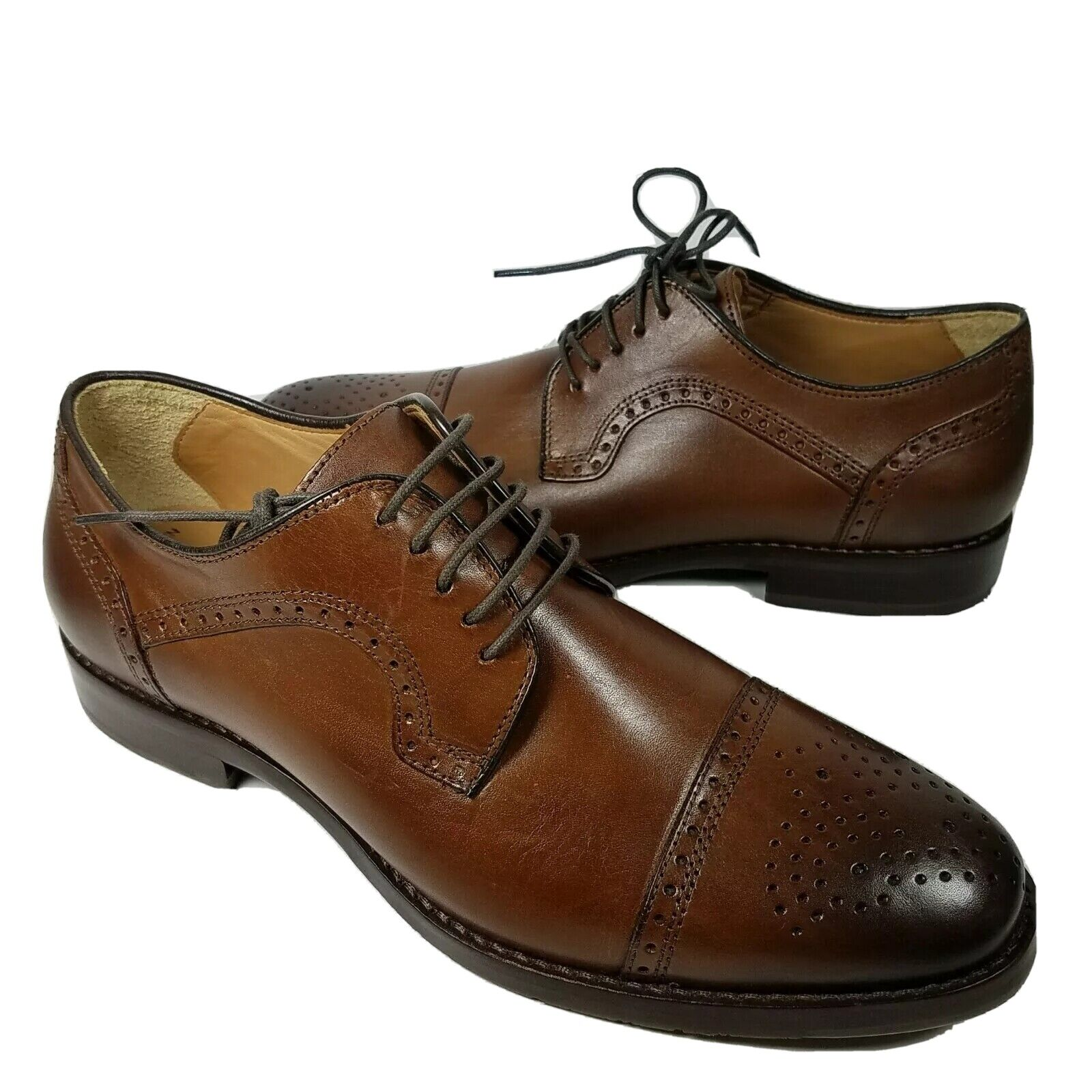 Johnston & Murphy Mens shoes oxfords Halford brown leather Cap-Toe sz 8 new