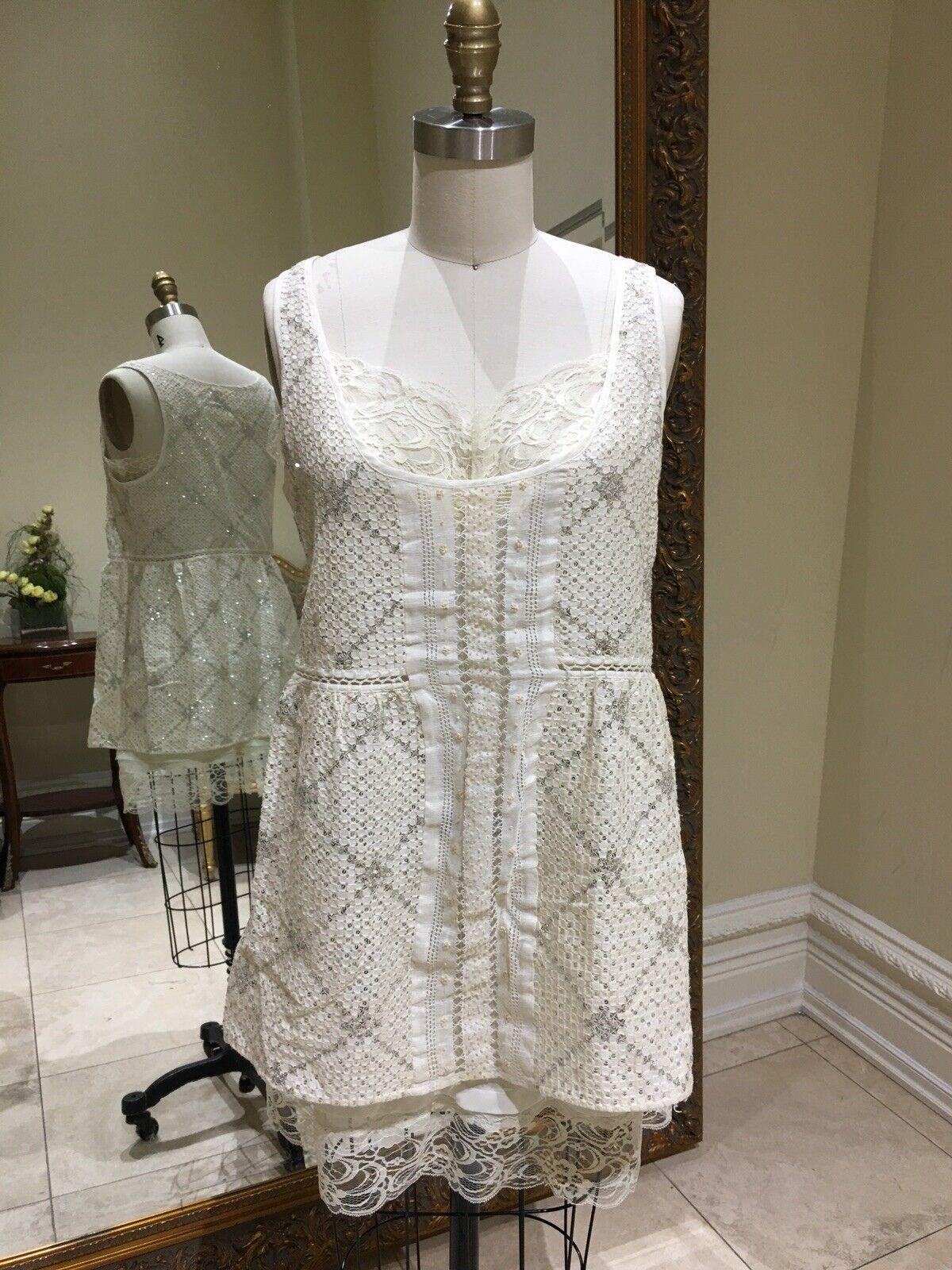 By Francine Bohemian Crochet Sequin Lace Slip With Shift Dress Größe S M