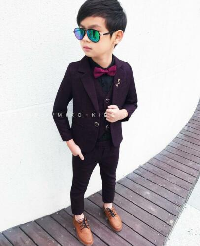 3pcs Kids Teenager Boys Gentleman Suit Set Coat+Vest+Pants Wedding Party Outfits