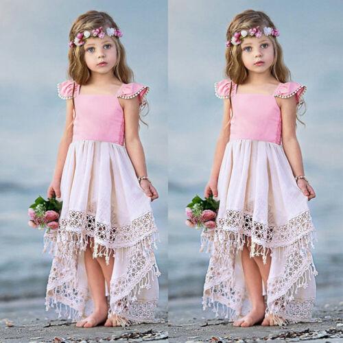 Kids Girls Boho Dress Princess Hollow Tassels Fringe Beach Lovely Fashion Casual